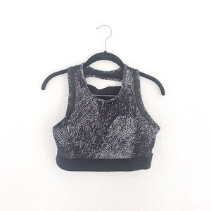 Black White Strappy Sports Bra